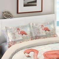 Laural Home® Coastal Flamingo Standard Pillow Sham in Pink/Beige
