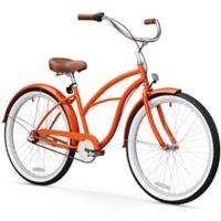 """sixthreezero Women's Classic Edition 26"""" Three Speed Beach Cruiser Bicycle in Glossy Orange"""