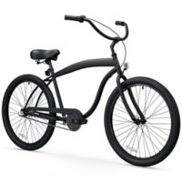 "sixthreezero Men's In the Barrel 26"" Three Speed Beach Cruiser Bicycle in Matte Black"