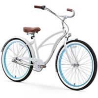 "sixthreezero Women's Classic Edition 26"" Three Speed Beach Cruiser Bicycle in White with Blue"