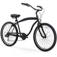 """sixthreezero Men's In the Barrel 26"""" Seven Speed Beach Cruiser Bicycle in Matte Black"""