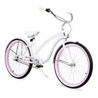 "Firmstrong Bella Fashionista 26"" Three Speed Beach Cruiser Bicycle in White/ Pink Rim"