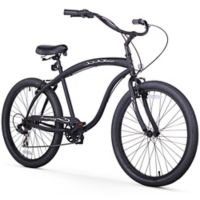 "Firmstrong Men's Bruiser 26"" Seven Speed Beach Cruiser Bicycle in Matte Black"