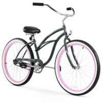 "Firmstrong Urban Lady Limited 26"" Single Speed Beach Cruiser Bicycle in Army Green w/Pink Rims"