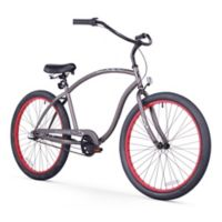 """Firmstrong Chief Man 26"""" Three Speed Beach Cruiser Bicycle in Matter Grey w/Red Rims"""