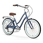 "sixthreezero Women's EVRYjourney 26"" Seven Speed Step-Through Touring Hybrid Bicycle in Navy"