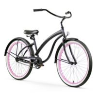 """Firmstrong Bella Fashionista 26"""" Single Speed Beach Cruiser Bicycle in Matte Black w/Pink Rims"""