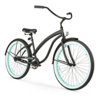 "Firmstrong Bella Fashionista 26"" Single Speed Beach Cruiser Bicycle in Matte Black w/Green Rims"