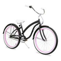 "Firmstrong Bella Fashionista 26"" Three Speed Beach Cruiser Bicycle in Matte Black/ Pink Rim"