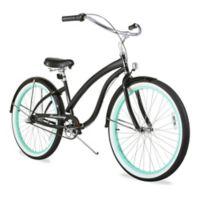 "Firmstrong Bella Fashionista 26"" Three Speed Beach Cruiser Bicycle in Gloss Black/ Green Rim"