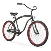 "Firmstrong Men's Bruiser 26"" Single Speed Beach Cruiser Bicycle in Matte Black w/Red Rims"