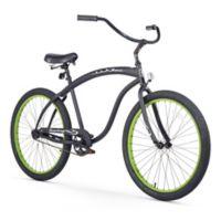 "Firmstrong Men's Bruiser 26"" Single Speed Beach Cruiser Bicycle in Matte Black w/Green Rims"