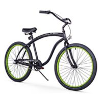 "Firmstrong Men's Bruiser 26"" Three Speed Beach Cruiser Bicycle in Matte Black w/Green Rims"