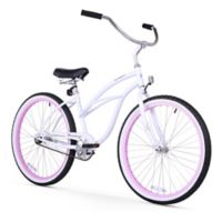 "Firmstrong Urban Lady Limited 26"" Single Speed Beach Cruiser Bicycle in White w/Pink Rims"