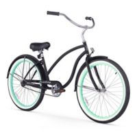 "Firmstrong Chief Lady 26"" Single Speed Beach Cruiser Bicycle in Matte Black w/Green Rims"