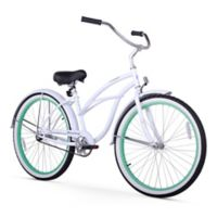 "Firmstrong Urban Lady Boutique 26"" Single Speed Beach Cruiser Bicycle in White w/Green Rims"