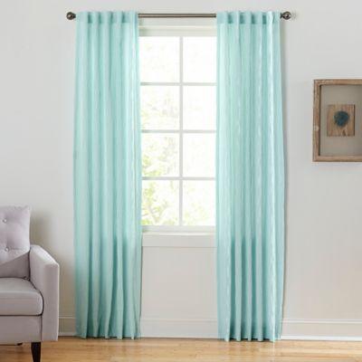 Coastal Waves 84 Inch Rod Pocket Back Tab Window Curtain Panel In Seafoam