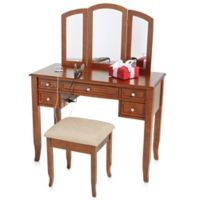 Charlotte 2-Piece Vanity Set with Power Outlet and USB in Walnut