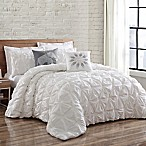 Brooklyn Loom Jackson Pleat Full/Queen Comforter Set in White