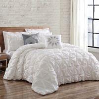 Brooklyn Loom Jackson Pleat Twin XL Mini Comforter Set in White