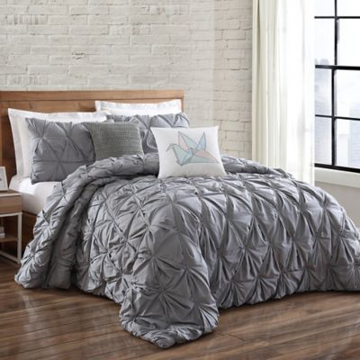 Brooklyn Loom Jackson Pleat Full Queen Mini Comforter Set in Grey Buy Gray Bed Sets from Bath  Beyond