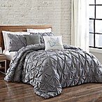 Brooklyn Loom Jackson Pleat King Comforter Set in Grey