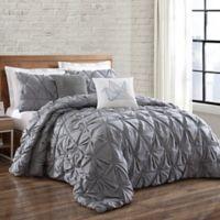 Brooklyn Loom Jackson Pleat Twin XL Mini Comforter Set in Grey
