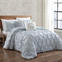 Brooklyn Loom Jackson Pleat Twin XL Mini Comforter Set in Spa