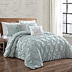 Brooklyn Loom Jackson Pleat King Comforter Set in Seaglass