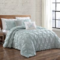 Brooklyn Loom Jackson Pleat Twin XL Mini Comforter Set in Seaglass