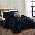 Brooklyn Loom Jackson Pleat King Comforter Set in Navy