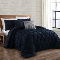 Brooklyn Loom Jackson Pleat Twin XL Mini Comforter Set in Navy