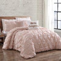 Brooklyn Loom Jackson Pleat Twin XL Mini Comforter Set in Blush