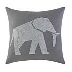 Brooklyn Loom Jackson Embroidered Elephant Square Throw Pillow