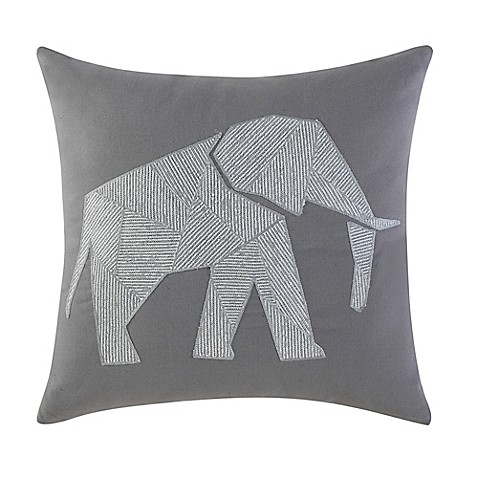 Elephant Throw Pillow Bed Bath And Beyond : Brooklyn Loom Jackson Embroidered Elephant Square Throw Pillow - Bed Bath & Beyond