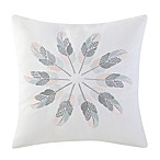 Brooklyn Loom Jackson Embroidered Feathers Square Throw Pillow
