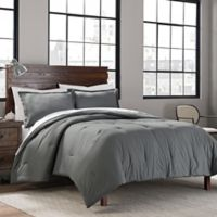 Garment Washed Solid 3-Piece Mini King Comforter Set in Grey