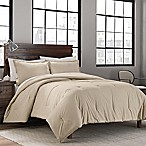 Garment Washed Solid Full/Queen Comforter Set in Khaki