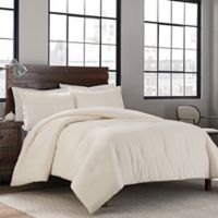 Garment Washed Solid King Comforter Set in Cream