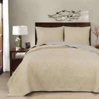 Brielle Casablanca Reversible Full/Queen Quilt Set in Grey/Linen