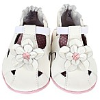 Robeez® Soft Soles™ Size 6-12M Pretty Pansy Crib Shoe in White
