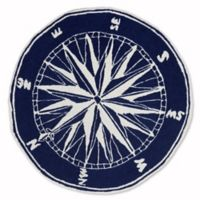 Liora Manne Front Porch Compass 5-Foot Round Indoor/Outdoor Rug in Navy