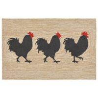 Liora Manne 2-Foot x 3-Foot Frontporch Roosters Indoor/Outdoor Rug in Neutral