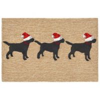Liora Manne Frontporch Dogs Christmas 2-Foot x 3-Foot Indoor/Outdoor Mat in Neutral
