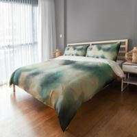 Brush Stroke Queen Duvet Cover in Green/White