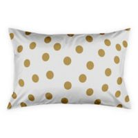 Polka Dots King Pillow Sham in White/Gold