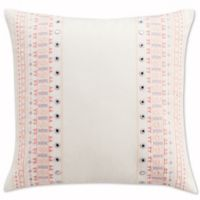 Cupcakes and Cashmere Painted Flowers Embroidered Mirrors Throw Pillow in White/Pink