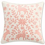 Cupcakes and Cashmere Scattered Hearts Embroidery Square Throw Pillow in White/Coral