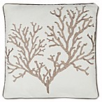 Sag Harbor Square Coral Throw Pillow in White