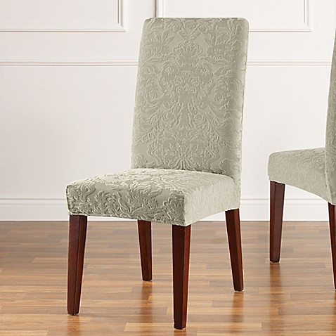 Sure Fit Stretch Jacquard Damask Short Dining Chair